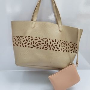 Pink Gold laser cut large tote with change purse